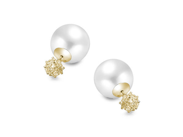 Homvare Women's 925 Sterling Silver Pearl Stud Earrings - Gold