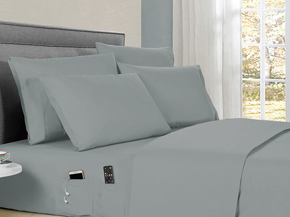 Kathy Ireland 6-Piece Smart Sheet Set (Silver/King)