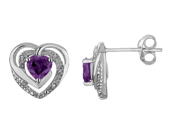 Amethyst Heart Earrings with Diamonds 2/3 Carat (ctw) in Sterling Silver