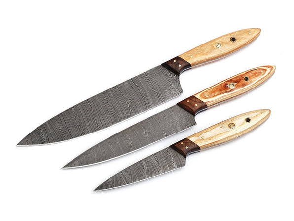 Hand-Forged Damascus Steel Chef Knife Set: 3 Pieces