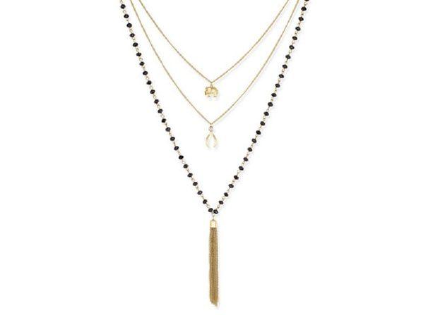 Inspired Life Multi-Layer Tassel Pendant Necklace Black