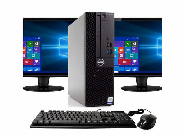 """Dell Optiplex 3050 Desktop PC, 3.2GHz Intel i5 Quad Core Gen 7, 8GB RAM, 1TBSSD SSD, Windows 10 Professional 64 bit, Dual (2) NEW 24"""" Screens Screen (Renewed)"""