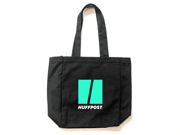 Huff Post 12 Ounce Black Canvas Tote Bag - Product Image