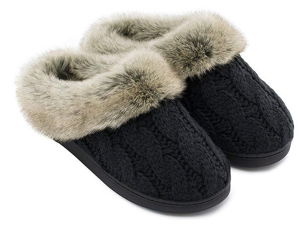 Women's Soft Yarn Cable Knitted Memory Foam Slippers (Black, Size 11-12)