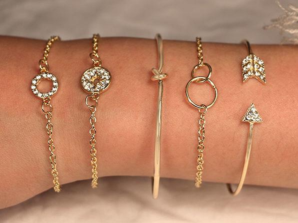 Pav'e Loveknot Bracelets: Set of 5 (Gold)