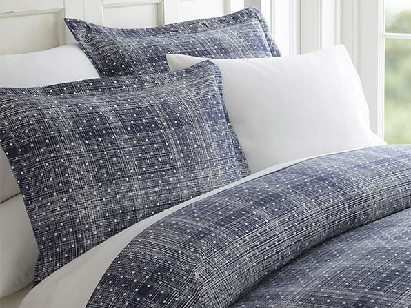 Navy Polkadot Patterned 3-Piece Duvet Cover Set - King/Cal King - Product Image