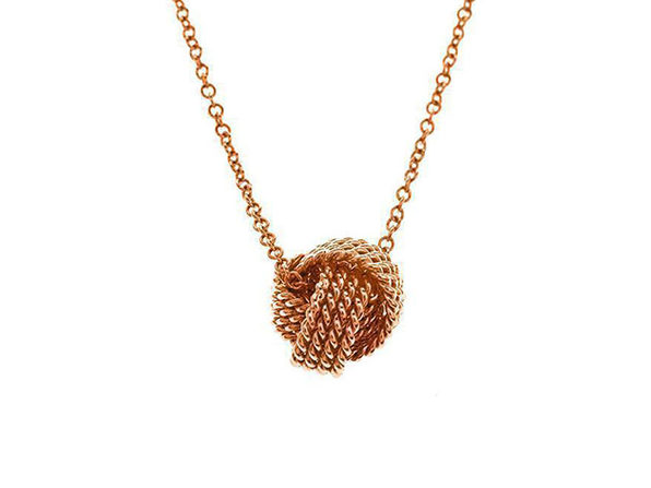 Mesh Knotted Ball Drop Necklace Rose Gold - Product Image