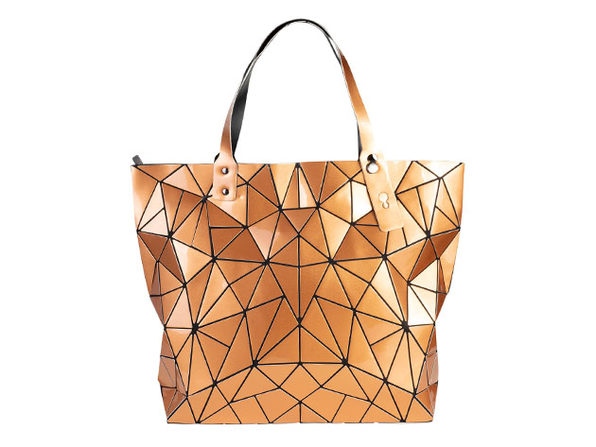 Geo Shaped Tote with Zipper (Gold)