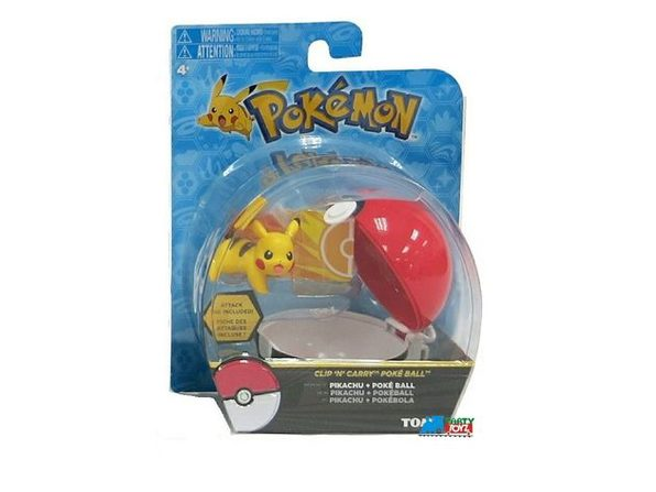 "Pokemon 2"" Plastic Toy Action Figure Clip n Carry - Pikachu and Poke Ball"