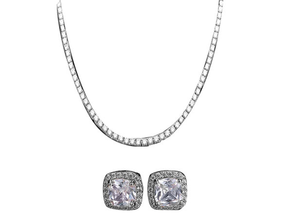 Tennis Necklace & Princess Halo Earring Set (White Gold)