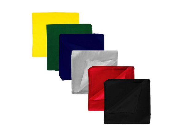 Set of 9 Solid 100% Polyester Unisex Bandanas - Mixed Colors