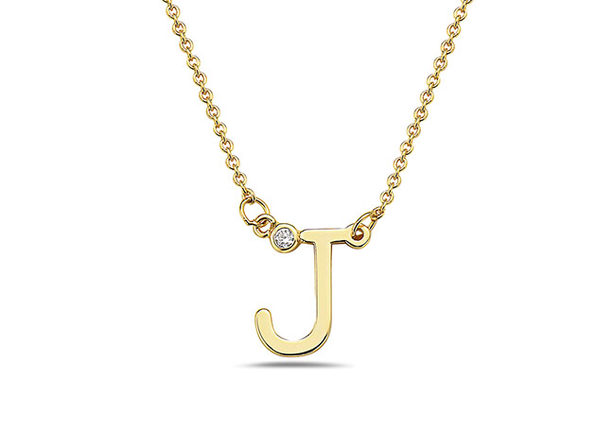 18K Gold-Plated CZ Initial Necklace (J)