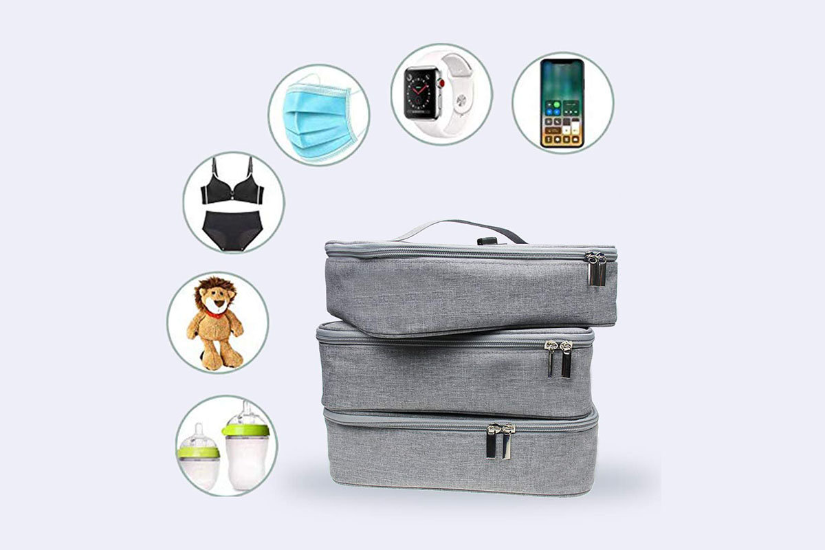 Three accessory bags with UV sanitizing capabilities, with floating objects that the bags can clean, including a phone, a smart watch, a face mask, a bikini, a doll and sippy cups