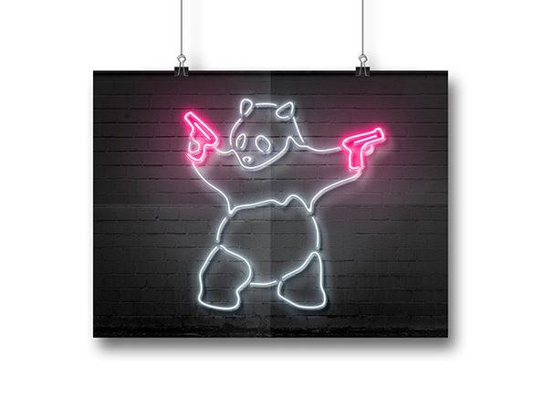 Octavian Mielu Neon Illusion Wall Art (Panda 16x12)