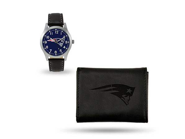 New England Patriots NFL Black Wallet and Watch Bundle - Product Image