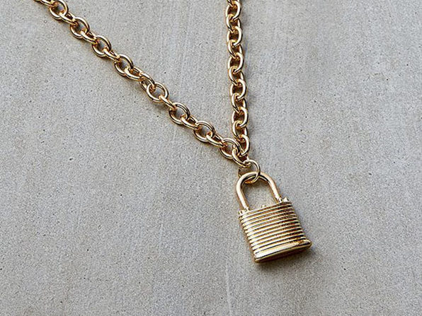 Padlock Chain Necklace (Gold)