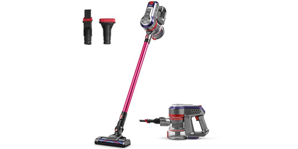 Costway 16KPa Cordless Vacuum Cleaner 6-in-1 Handheld Stick Vacuum Rechargeable Battery – Grey +Pink