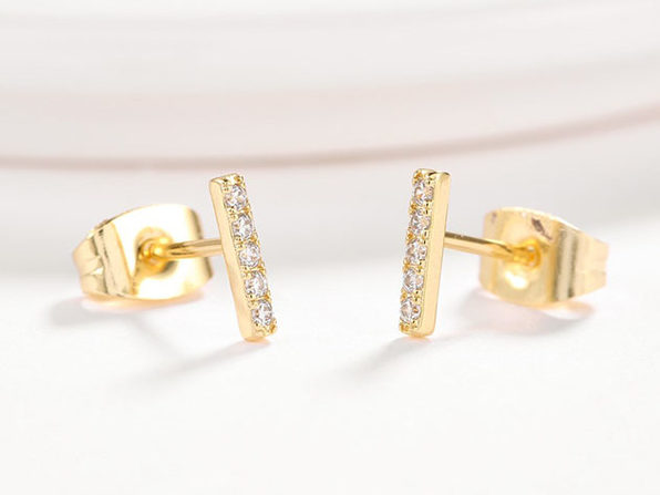 Cubic Zirconia Bar Stud Earrings - Gold - Product Image