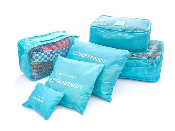 Travel Packing Bags & Storage Cubes: Set of 6 (Blue)