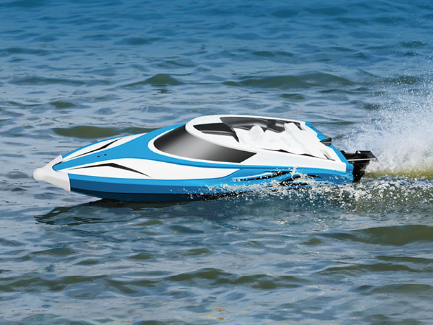 A remote controlled boat in water