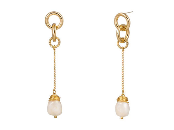 Baroque Pearl Drop Earrings - Product Image