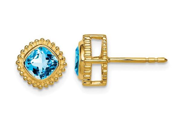 1.40 Carat (ctw) Blue Topaz Button Earrings in 14K Yellow Gold