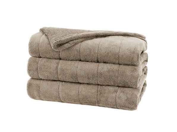Sunbeam Soft Channeled Microplush Electric Heated Warming Blanket Twin Mushroom Washable Auto Shut Off 10 Heat Settings - Mushroom