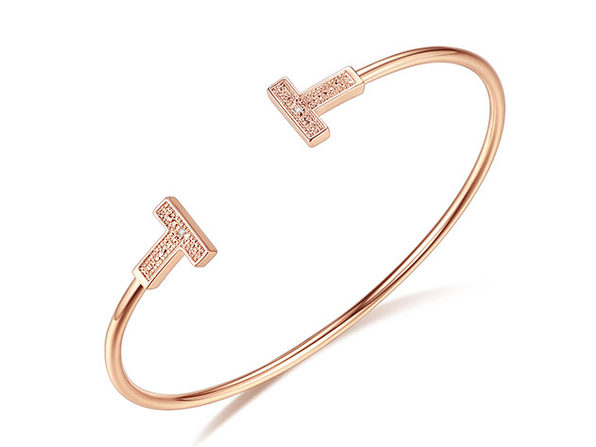 Genuine Diamond T-Shaped Rose Gold Bangle