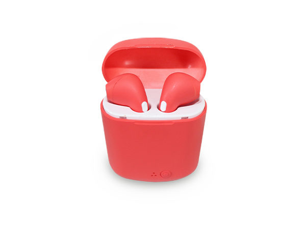 Wireless Earbuds in Rubberized Coral Casing - Product Image