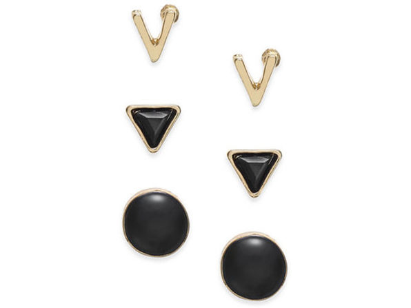 Inspired Life Gold-Tone 3-Pc. Set Geometric Stud Earrings Black