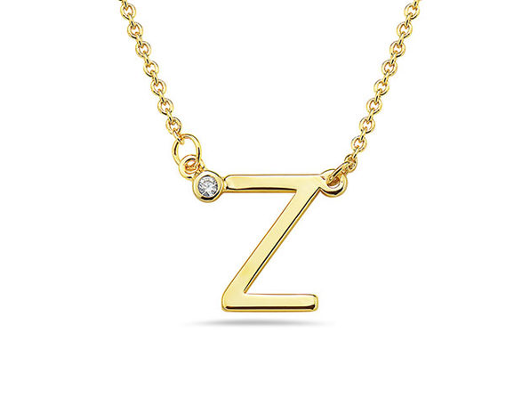 18K Gold-Plated CZ Initial Necklace (Z)