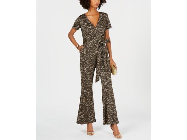 "Ivanka Trump Women's Cheetah-Print Belted Jumpsuit Grey Size 2"""