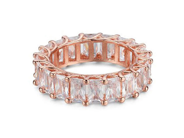 Emerald Cut Cubic Zirconia Eternity Band Ring (Rose Gold)