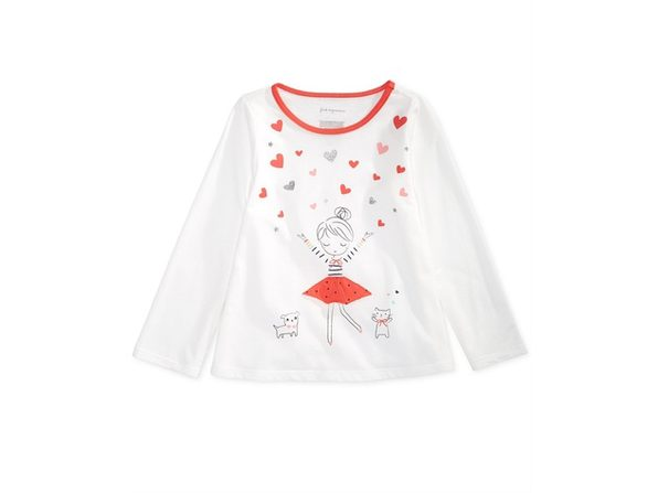 First Impressions Baby Girls Heart Girl Graphic Cotton T-Shirt Size 12 Months