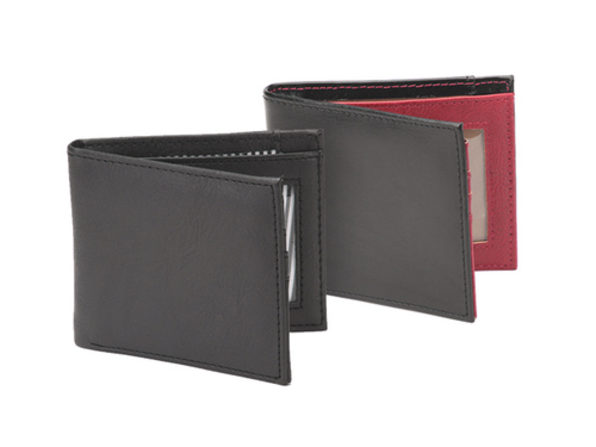 Vault RFID-Blocking Leather Wallet (Black/Burgundy)