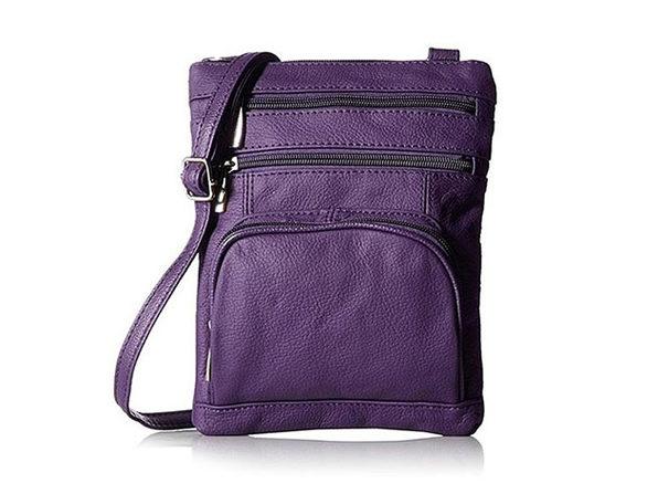 Ultra-Soft Leather Crossbody Bag - Purple - Product Image