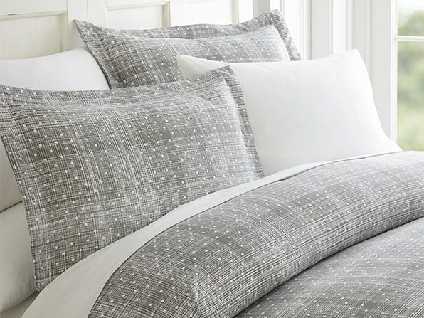 Gray Polkadot Patterned 3-Piece Duvet Cover Set - King/Cal King - Product Image