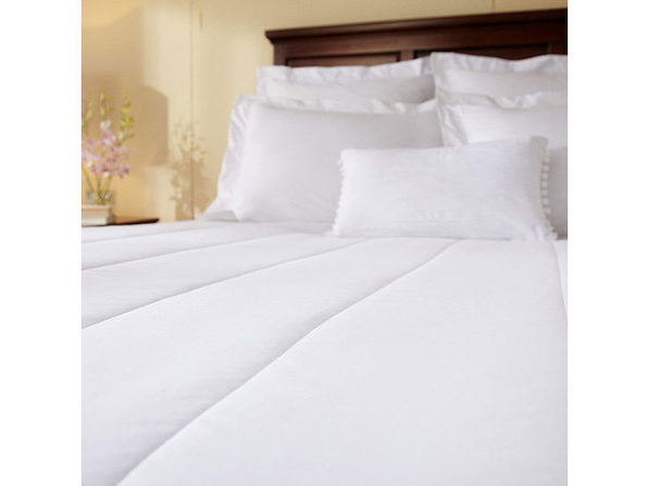 Sunbeam MSU2 Quilted Electric Heated Mattress Pad Full White Washable Auto Shut Off 10 Heat Settings - White