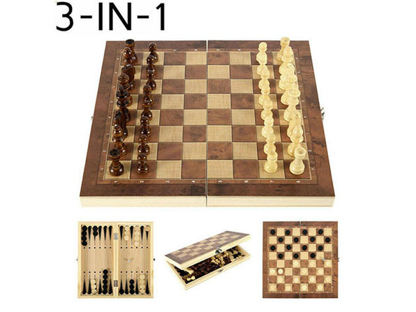 3-in-1 Folding Wooden Chess Set