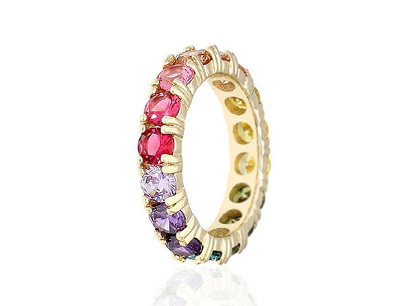 Round Cut Multicolored Gemstones Eternity Band in Sterling Silver (Size 8)