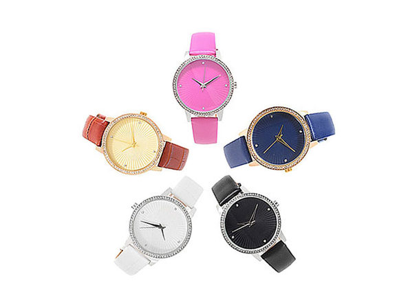 Croton Women's Manhattan Quartz Crystal Accented Leather Strap Watches: Set of 5