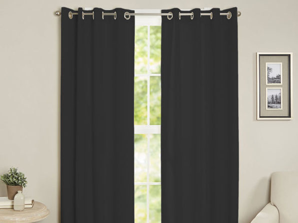 Maria Thermal Blackout Grommet-Top Curtain: 1 Panel (Black)