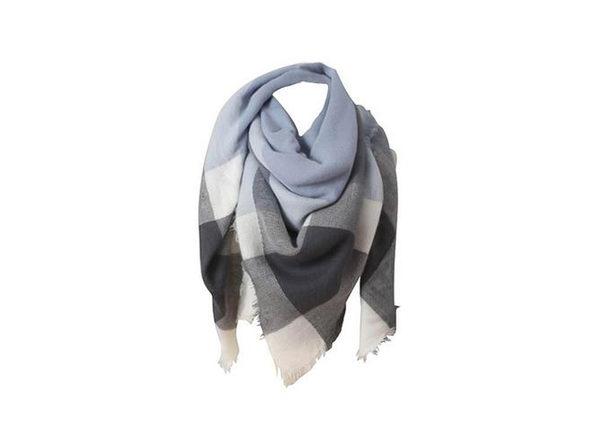 Oversized Wrap Scarf (Gray/White)