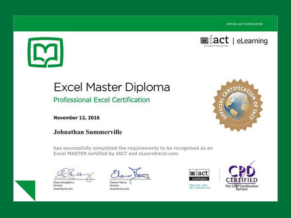 Excel Master Project and Certification - Product Image