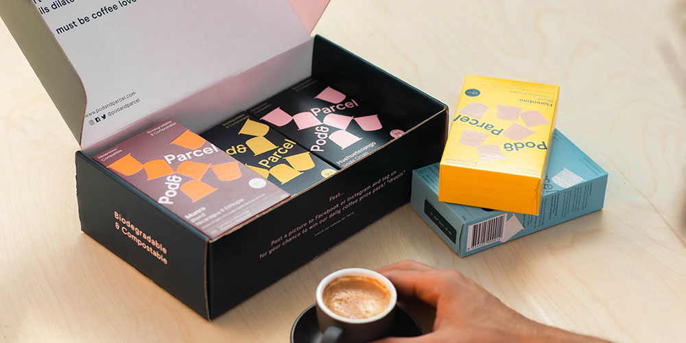 A box of coffee pods.