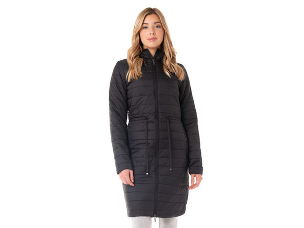 Kyodan Ladies long woven puffer jacket with hood and drawstring - Small