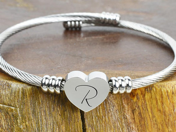 "Heart Cable ""R"" Initial Bracelet"