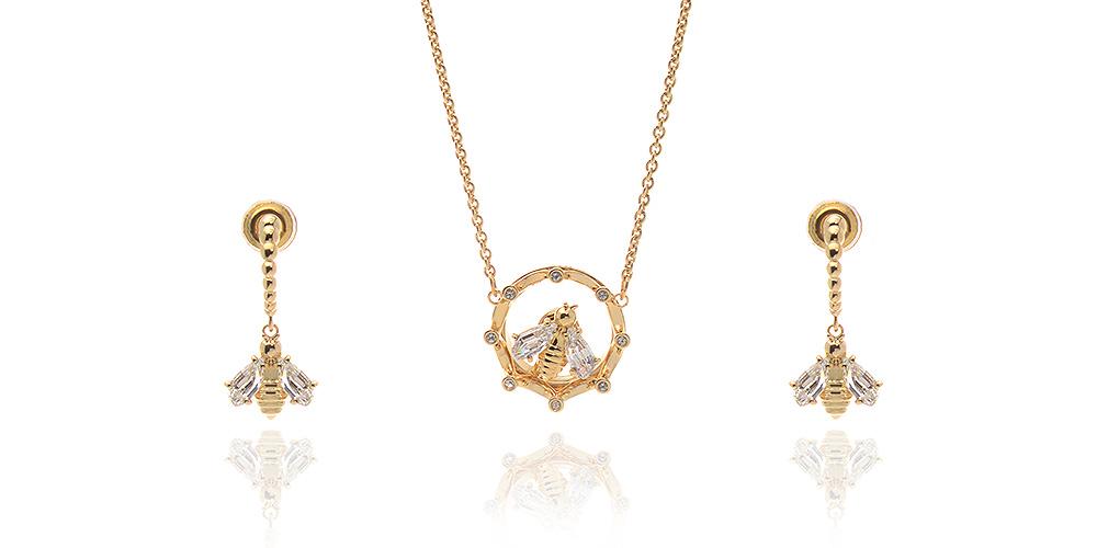"""Swarovski """"Bee A Queen"""" Goldtone Czech Crystal Necklace & Earrings"""