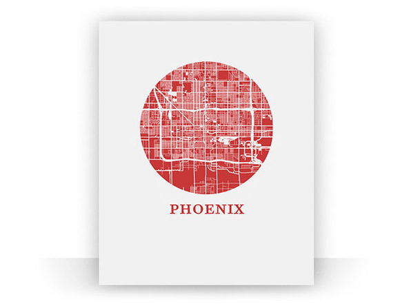 "Phoenix City Map Print (18"" x 24"")"