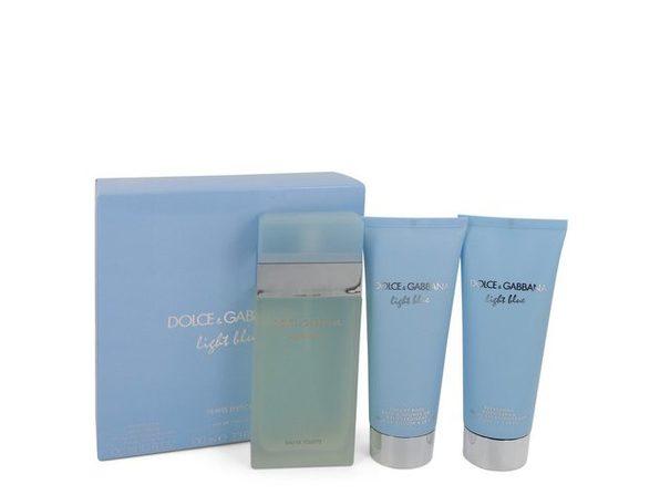 Light Blue by Dolce & Gabbana Gift Set -- 3.3 oz Eau De Toilette Spray + 3.3 oz Body Cream + 3.3 oz Shower Gel - Product Image